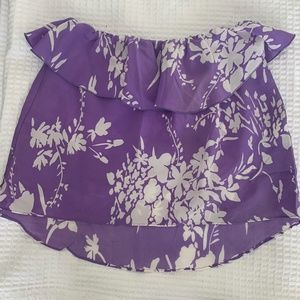 Amanda Uprichard silk strapless floral blouse XS